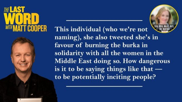 Matt Cooper asks how dangerous it is to stand in solidarity with women burning the burka…