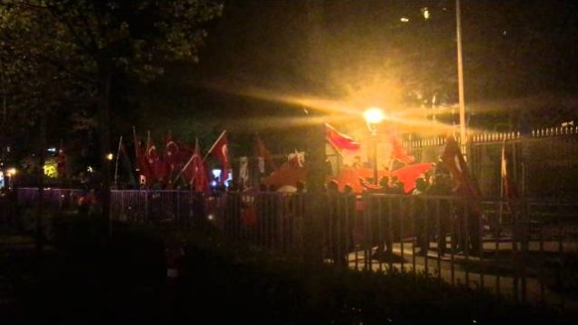 Footage from outside Turkish Embassy in Budapest