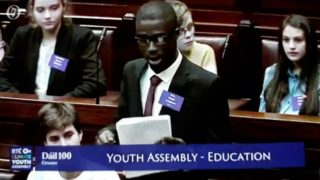 Fine Gael climate change hysteria AFRICAN from longford  Dictates to Irish teenagers in the Dail