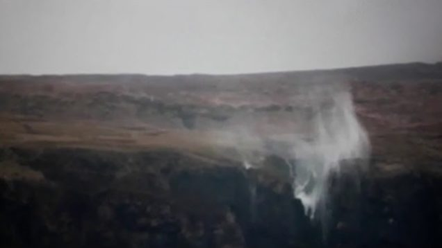 Storm Dennis causes Silgo waterfall to flow Backwards