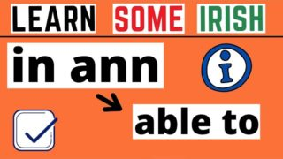 How To Say I'm Able To In Irish