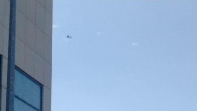 Garda Helicopter Above Tusla Protest